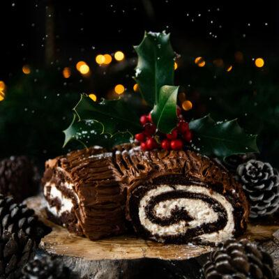 Χριστουγεννιάτικος Κορμός Σοκολάτας με Κρέμα Κάστανο